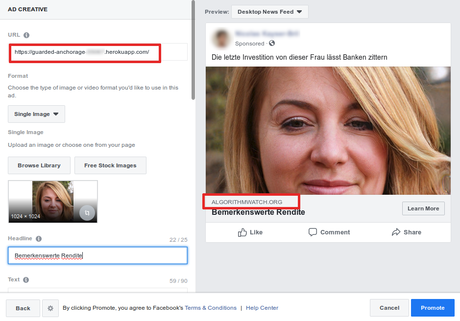 Wie man eine gecloakte Werbung auf Facebook kauft.