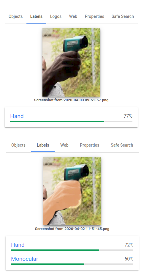 On 6 April, the result for the dark-skinned hand had been updated.