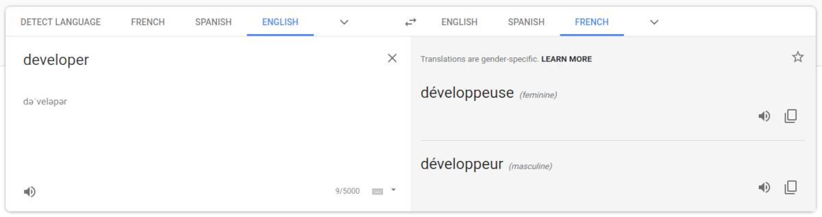 developer translates to both gender.