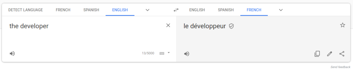 but the developer translates to masculine only.